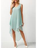 preiswerte Damen Kleider-Damen A-Linie Kleid - Rüsche Asymmetrisch Tiefes V