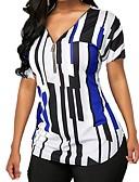 billige T-shirts og undertrøjer til herrer-V-hals Dame - Stribet Bomuld, Trykt mønster T-shirt Grøn US10
