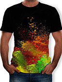 abordables Camisetas y Tops de Hombre-Hombre Estampado Camiseta Galaxia / Bloques / 3D