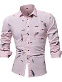 levne Pánské košile-Pánské - Geometrický Větší velikosti Košile Bavlna Světlá růžová XXL
