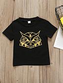 tanie Topy dla niemowląt-Dziecko Dla dziewczynek Aktywny / Podstawowy Geometric Shape / Nadruk Krótki rękaw Bawełna / Poliester T-shirt Czarny