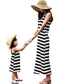 זול סטים של בגדים למשפחה-שמלה כותנה מידי ללא שרוולים טלאים פסים / קולור בלוק פעיל / בסיסי אמא ואני