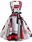 cheap Print Dresses-Women's Vintage Sheath Dress - Geometric Print White L XL XXL