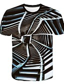 abordables Camisetas y Tops de Hombre-Hombre Estampado Camiseta, Escote Redondo 3D Gris Oscuro XXXXL