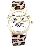 cheap Quartz Watches-Women's Quartz Watches Cartoon Fashion Black White Brown PU Leather Quartz White Black Dark brown lace Casual Watch Adorable 1 pc Analog One Year Battery Life / Stainless Steel