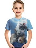 abordables Conjuntos de Ropa para Niño-Niños Bebé Chico Activo Básico Estampado Estampado Manga Corta Poliéster Licra Camiseta Azul claro