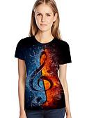hesapli Tişört-Kadın's Tişört Desen, Zıt Renkli / 3D / Grafik Sokak Şıklığı / Abartılı Büyük Bedenler Havuz