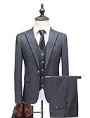 povoljno Odijela-Sive boje Prugasti uzorak Uski kroj Poliester Odijelo - Šiljasti Droit 1 bouton