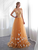 cheap Evening Dresses-A-Line Spaghetti Strap Floor Length Tulle Dress with Appliques by LAN TING Express