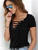 abordables Chemises Femme-Tee-shirt Femme, Couleur Pleine - Coton Col en V Mince Blanche