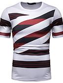 voordelige Heren T-shirts & tanktops-Heren Patchwork / Print EU / VS maat - T-shirt Katoen Gestreept / Kleurenblok / Grafisch Ronde hals Rood L