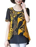 abordables T-shirts Femme-Chemisier Femme, Graphique Style floral / Mousseline de Soie Rouge / Printemps / Eté / Automne / Hiver