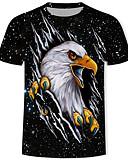 זול חולצות לגברים-גלקסיה / 3D / חיה טישרט - בגדי ריקוד גברים דפוס שחור