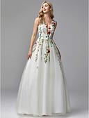 זול שמלות ערב-גזרת A צווארון V עד הריצפה תחרה / טול ערב רישמי שמלה עם חרוזים / ריקמה על ידי TS Couture®