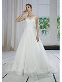 baratos Vestidos de Casamento-Linha A Bateau Neck Cauda Corte Renda / Tule / Paetês Vestidos de casamento feitos à medida com Apliques / Renda de ANGELAG