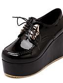 hesapli Kadın Pantolonl-Kadın's Ayakkabı PU İlkbahar & Kış İngiliz / Çıtı Pıtı Oxford Modeli Dolgu Topuk Yuvarlak Uçlu Günlük / Parti ve Gece için Beyaz / Siyah