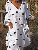 זול שמלות מיני-V עמוק עד הברך מנוקד - שמלה נדן משוחרר מידות גדולות בסיסי בגדי ריקוד נשים