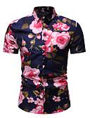 זול חולצות לגברים-פרחוני צווארון קלאסי סגנון רחוב חולצה - בגדי ריקוד גברים פוקסיה / שרוולים קצרים