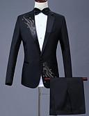 halpa Miesten bleiserit ja puvut-Miesten Pluskoko Suits, Geometrinen Paitapuserokaula-aukko Polyesteri Musta / Rubiini / Purppura / Ohut