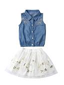 זול סטים של ביגוד לתינוקות-סט של בגדים כותנה ללא שרוולים רשת אחיד / טלאים פעיל / בסיסי בנות תִינוֹק / פעוטות