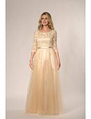 זול שמלות שושבינה-גזרת A עם תכשיטים עד הריצפה תחרה / טול שמלה לשושבינה  עם תחרה / סרט על ידי JUDY&JULIA