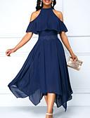 povoljno Ženske haljine-Žene Swing kroj Haljina Jednobojni Na vezanje oko vrata Asimetričan