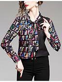 abordables Chemises Femme-Chemise Femme, Bloc de Couleur - Coton Mosaïque Col de Chemise Noir