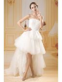 billige Brudekjoler-A-linje Stropløs Børsteslæb / Kort Længde Blondelukning / Tyl Made-To-Measure Brudekjoler med Blonde ved ANGELAG