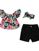 זול סטים של ביגוד לתינוקות-סט של בגדים כותנה קצר שרוולים קצרים דפוס פרחוני פעיל / בסיסי בנות תִינוֹק / פעוטות