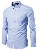 billiga Herrtröjor-Enfärgad Skjorta - Grundläggande Herr Marinblå US38