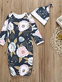 זול אוברולים טריים לתינוקות-לבוש שינה כותנה דפוס פרחוני / גיאומטרי / דפוס בנות תִינוֹק 2pcs