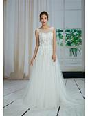 baratos Vestidos de Casamento-Linha A Bateau Neck Cauda Capela Renda / Tule Vestidos de casamento feitos à medida com Miçangas / Apliques / Drapeado Lateral de ANGELAG
