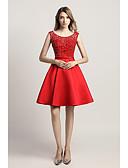 preiswerte Abendkleider-A-Linie U-Ausschnitt Kurz / Mini Satin Cocktailparty Kleid mit Perlenstickerei / Paillette durch JUDY&JULIA