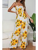 hesapli Print Dresses-Kadın's Boho / Sokak Şıklığı Koyu Mavi Mor Sarı Tulumlar, Çiçekli Arkasız / Bağcık / Kırk Yama M L XL