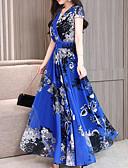 hesapli Maksi Elbiseler-Kadın's Şifon Elbise V Yaka Maksi