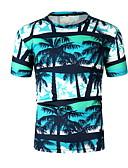 hesapli Erkek Tişörtleri ve Atletleri-Erkek Yuvarlak Yaka Tişört Desen, Çiçekli Havuz / Kısa Kollu