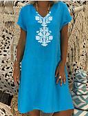 hesapli Mini Elbiseler-Kadın's Gömlek Elbise - Geometrik, Çiçek V Yaka Diz-boyu