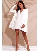 hesapli Kadın Elbiseleri-Kadın's Seksi Kombinezon Elbise - Solid Derin V Mini