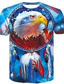 povoljno Muške majice i potkošulje-Veći konfekcijski brojevi Majica s rukavima Muškarci Pamuk Životinja Okrugli izrez Slim Plava