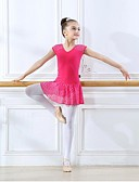 זול בגדי ים לבנים-בגדי ריקוד לילדים / בלט שמלות בנות הדרכה כותנה / ספנדקס תחרה שמלה