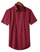 levne Pánské košile-Pánské - Jednobarevné Košile Námořnická modř XXXL