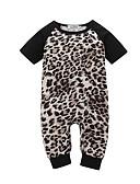 billige De flotteste sparkedragter-Baby Pige Aktiv / Basale Leopard Patchwork Kort Ærme Bomuld En del Brun