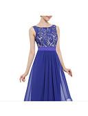 preiswerte Abendkleider-A-Linie Schmuck Boden-Länge Chiffon / Spitze Kleid mit Spitzeneinsatz durch LAN TING Express