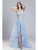 cheap Cocktail Dresses-A-Line Strapless Asymmetrical Lace / Tulle Formal Evening Dress with Appliques by JUDY&JULIA