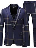 preiswerte Anzüge-Dunkelmarine Gestreift Reguläre Passform Polyester Anzug - Fallendes Revers Einreiher - 1 Knopf