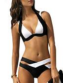 رخيصةأون ملابس السباحة والبيكيني للنساء-أبيض XL XXL XXXL ألوان متناوبة, ملابس السباحة ثلاثة قطع أبيض نسائي