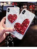 זול מגנים לאייפון-מגן עבור Apple iPhone X / iPhone 8 Plus / iPhone 8 ריינסטון / תבנית כיסוי אחורי לב רך TPU