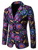 hesapli Erkek Blazerları ve Takım Elbiseleri-Erkek Blazer, Geometrik / Gökküşağı Çentik Yaka Pamuklu / Keten Gökküşağı XXL / XXXL / XXXXL
