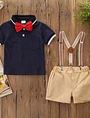 זול לבנים סטים של ביגוד לתינוקות-סט של בגדים כותנה שרוולים קצרים פפיון אחיד / קולור בלוק פעיל / בסיסי בנים תִינוֹק / פעוטות