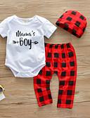 זול לבנים סטים של ביגוד לתינוקות-סט של בגדים כותנה שרוולים קצרים דפוס דפוס יום יומי / פעיל בנים תִינוֹק / פעוטות